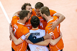 Gijs Jorna of Netherlands, Wessel Keemink of Netherlands, Thijs Ter Horst of Netherlands celebrate during the CEV Eurovolley 2021 Qualifiers between Sweden and Netherlands at Topsporthall Omnisport on May 14, 2021 in Apeldoorn, Netherlands