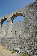 Arches in the walls of the ruined mosque in  Rozafa castle, Kalaja e Rozafës. Shkodër, Albania. 02Sep15