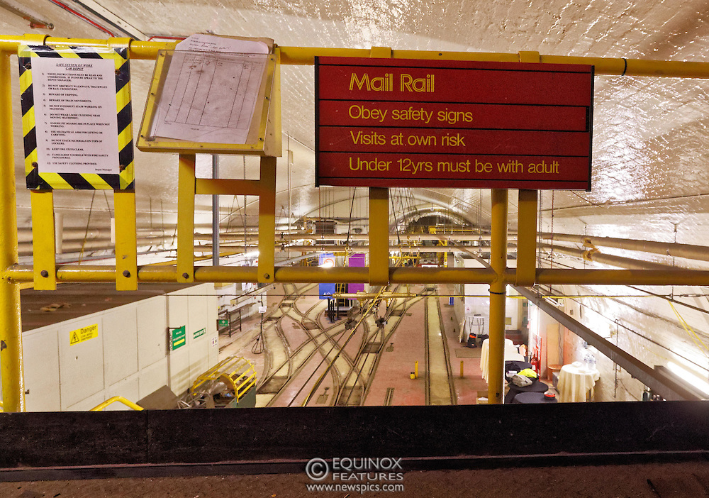 London, United Kingdom - 3 February 2016<br /> PICTURE EXCLUSIVE - The disused Mail Rail underground rail lines and station pictured beneath Mount Pleasant sorting office. Work has commenced on The Postal Museum which will open in 2017 and be located next to Mount Pleasant sorting office in Clerkenwell, London, England, UK. Visitors to the museum will be able to ride on a train on the famous Mail Rail underground rail line. The underground Mail Rail was used for mail distribution to avoid road congestion until 2003 when the lines were closed. Among the supporters of The Postal Museum are Royal Mail, Post Office and the Heritage Lottery Fund.<br /> (photo by: HAUSARTS / EQUINOXFEATURES.COM)<br /> Picture Data:<br /> Photographer: Equinox Features<br /> Copyright: ©2016 Equinox Licensing Ltd. +448700 780000<br /> Contact: Equinox Features<br /> Date Taken: 20160203<br /> Time Taken: 17234130<br /> www.newspics.com