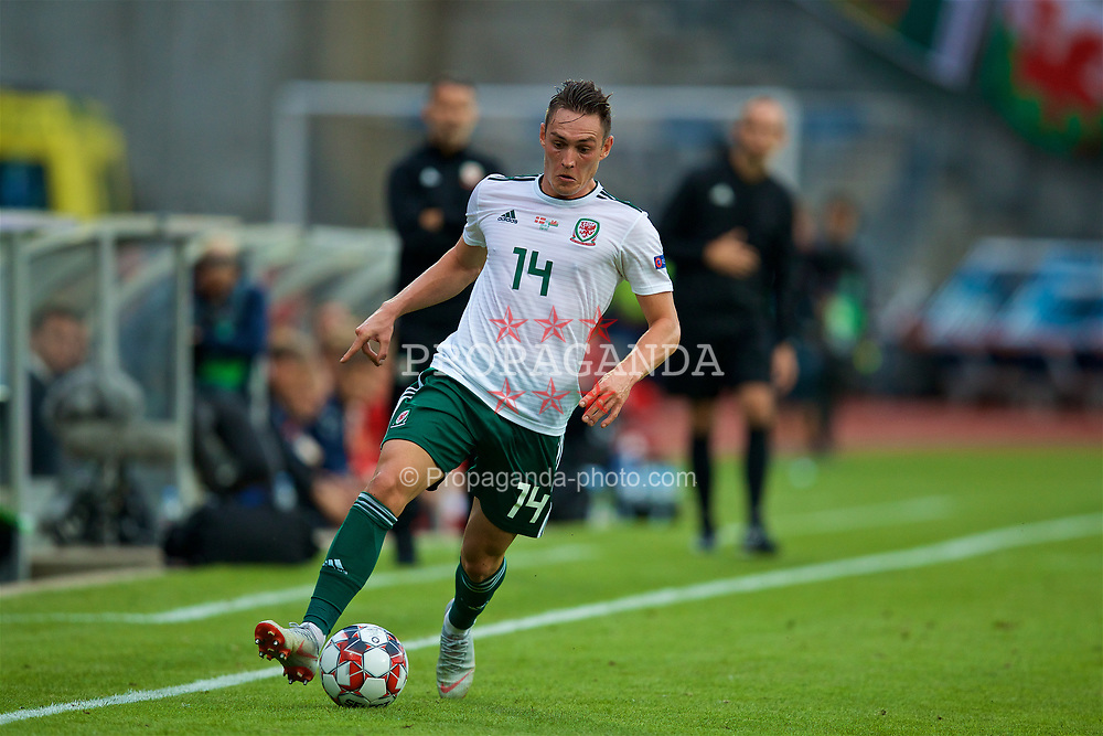 AARHUS, DENMARK - Sunday, September 9, 2018: Wales' Connor Roberts during the UEFA Nations League Group Stage League B Group 4 match between Denmark and Wales at the Aarhus Stadion. (Pic by David Rawcliffe/Propaganda)