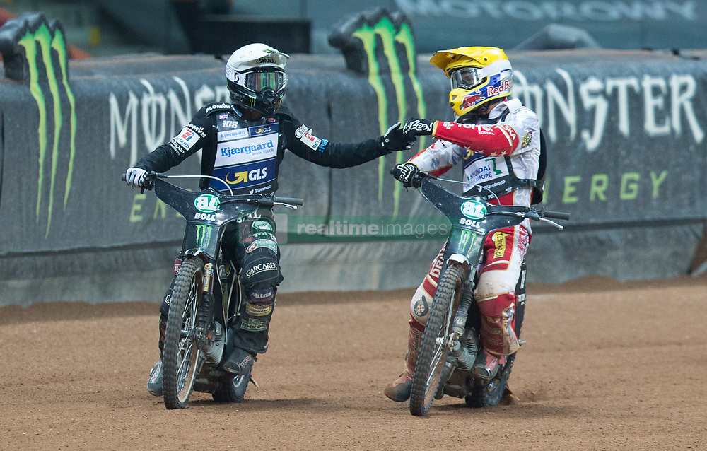 May 12, 2018 - Warsaw, Poland - Tai Woffinden (GBR), Maciej Janowski (POL) during 1st round of Speedway World Championships Grand Prix Poland in Warsaw, Poland, on 12 May 2018. (Credit Image: © Foto Olimpik/NurPhoto via ZUMA Press)