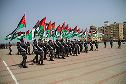 April 29, 2019 - Gaza City, Palestine, 29 th April 2019. The General Directorate of Training of the Gaza Ministry of Interior organize a graduation ceremony for the qualification of officers titled ''The regiment for the triumph of the captives'' in the presence of Major General Tawfiq Abu Naim,  the Undersecretary of the Ministry and the General Commander of the Internal Security Forces in Gaza, at the directorate's headquarters in the Ansar area, west of Gaza City (Credit Image: © Ahmad Hasaballah/IMAGESLIVE via ZUMA Wire)