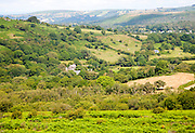 Wooded valley and farms, Greator,  Dartmoor national park, Devon, England, UK