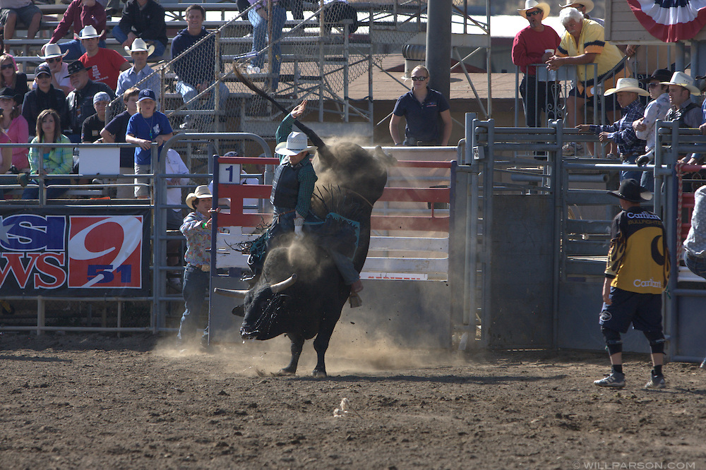 Carter Downing posts no score after falling off the bull Weed Patch.