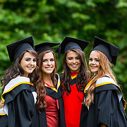 """23.08.2016        <br /> Over 300 students graduated from the Faculty of Arts Humanities and Social Sciences at the University of Limerick today. <br /> <br /> Attending the conferring ceremony were Bachelor of Laws (Law Plus) graduates, Slaney Byrne, Carrick on Shore Co. Tipperary, Angie Tuohy, Kilfinanne Co. Limerick, Laura Galvin, Killarney Co. Kerry, and Kate Dundon, Craughwell, Co. Galway. Picture: Alan Place.<br /> <br /> <br /> <br /> <br /> UL Graduates Employability remains consistently high as they are 14% more likely to be employed after Graduation than any other Irish University Graduate<br /> Each year, the Careers Service collects information about the 'First Destinations' of UL graduates. During the April/May period following graduation, we survey those who have completed full-time undergraduate and postgraduate courses for details on their current status. This current survey was conducted nine months after graduation and focuses on the employment and further study patterns of the graduates of 2015. A total of 2,933 graduates were surveyed and a response rate of 87% was achieved. <br /> As the University of Limerick commences four days of conferring ceremonies which will see 2568 students graduate, including 50 PhD graduates, UL President, Professor Don Barry highlighted the continued demand for UL graduates by employers; """"Traditionally UL's Graduate Employment figures trend well above the national average. Despite the challenging environment, UL's graduate employment rate for 2015 primary degree-holders is now 14% higher than the HEA's most recently-available national average figure which is 58% for 2014"""". The survey of UL's 2015 graduates showed that 92% are either employed or pursuing further study."""" Picture: Alan Place"""
