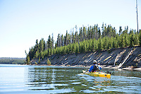Sea kayaking on Yellowstone Lake in Yellowstone National Park, WY.