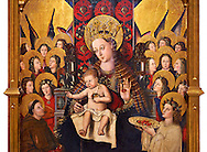 Virgin Mary; Mother of God; The Virgin; Mare de deu; Gothic altarpiece of Madonna and Child by Joan Reixach of Barcelona, circa 1450, tempera and gold leaf on wood, from the sanctuary of San Pau d'Albocasser, Castello..  National Museum of Catalan Art, Barcelona, Spain, inv no: MNAC  64055. .<br /> <br /> If you prefer you can also buy from our ALAMY PHOTO LIBRARY  Collection visit : https://www.alamy.com/portfolio/paul-williams-funkystock/gothic-art-antiquities.html  Type -     MANAC    - into the LOWER SEARCH WITHIN GALLERY box. Refine search by adding background colour, place, museum etc<br /> <br /> Visit our MEDIEVAL GOTHIC ART PHOTO COLLECTIONS for more   photos  to download or buy as prints https://funkystock.photoshelter.com/gallery-collection/Medieval-Gothic-Art-Antiquities-Historic-Sites-Pictures-Images-of/C0000gZ8POl_DCqE