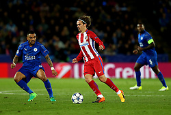 Antoine Griezmann of Atletico Madrid takes on Danny Simpson of Leicester City - Mandatory by-line: Robbie Stephenson/JMP - 18/04/2017 - FOOTBALL - King Power Stadium - Leicester, England - Leicester City v Atletico Madrid - UEFA Champions League Quarter-Final Second Leg