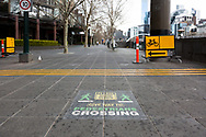 A give way to pedestrians sign is seen in a deserted Southbank Promenade during COVID-19 in Melbourne, Australia. Hotel quarantine linked to 99% of Victoria's COVID-19 cases, inquiry told. This comes amid a further 222 new cases being discovered along with 17 deaths. Melbourne continues to reel under Stage 4 restrictions with speculation that it will be extended. (Photo by Dave Hewison/Speed Media)