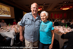 Larry Struck of Team 39 with his namesake Gloria Struck after meeting at the kickoff banquet before the Motorcycle Cannonball Race of the Century Run. Atlantic City, NJ, USA. September 9, 2016. Photography ©2016 Michael Lichter.