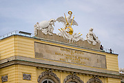 Top of the mighty Gloriette with it's inscriptions, a part of the  Schönbrunn Palace, resting atop Schönbrunn hill