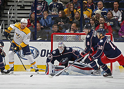 November 7, 2017 - Columbus, OH, USA - Columbus Blue Jackets goalie Joonas Korpisalo (70) watches the puck after making a save on the Nashville Predators' Scott Hartnell (17) during the first period at Nationwide Arena on November 7, 2017. (Credit Image: © Kyle Robertson/TNS via ZUMA Wire)
