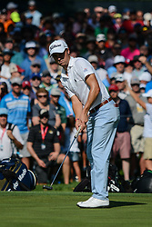 August 9, 2018 - Town And Country, Missouri, U.S - JUSTIN THOMAS from Goshen Kentucky, USA watches his putt role towards the cup on the 14th green during round one of the 100th PGA Championship on Thursday, August 8, 2018, held at Bellerive Country Club in Town and Country, MO (Photo credit Richard Ulreich / ZUMA Press) (Credit Image: © Richard Ulreich via ZUMA Wire)