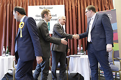 © Licensed to London News Pictures . 16/02/2017. Stoke-on-Trent, UK. Hustings with Lib Dem candidate Dr Zulfiqar Ali, Conservative candidate Jack Brereton,  Labour candidate Gareth Snell and, in place of UKIP candidate Paul Nuttall , Patrick O'Flynn, campaigning in the Stoke Central by-election . Photo credit: Joel Goodman/LNP