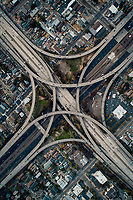 A top-down view of the Grove-Shafter freeway interchange.