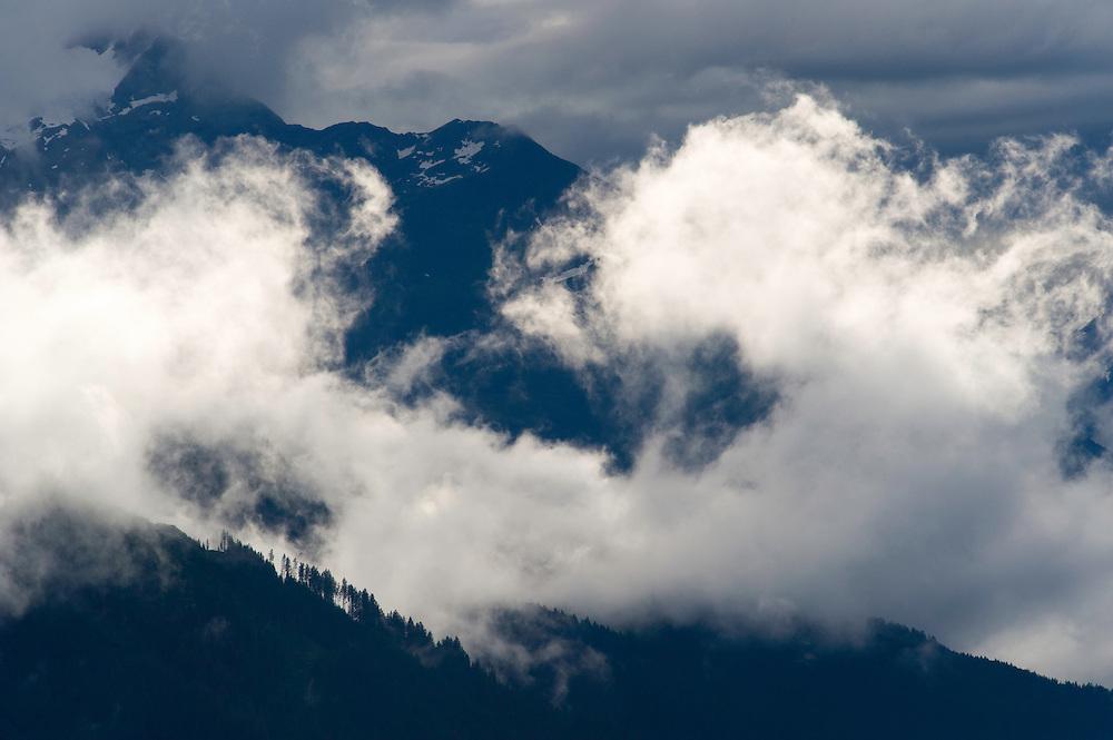 IFTE-NB-007649; Niall Benvie; View into the valley around Fliess from Kaunergrat visitor's centre; Austria; Europe; Tirol; horizontal; grey blue; forest woodland; 2008; July; summer; fog mist rain cloud; Wild Wonders of Europe Naturpark Kaunergrat