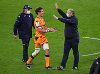 Rugby Union - 2020 / 2021 European Rugby Challenge Cup - Final - Leicester Tigers vs Montpellier - Twickenham<br /> <br /> Montpellier's Director of Rugby Philippe Saint Andre with Johan Goosen.<br /> <br /> COLORSPORT/ASHLEY WESTERN
