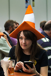 Olympia, London, August 9th 2015. Hundreds of real ale lovers attend the Campaign for Real Ale  Great British Beer Festival at London's Olympia Exhibition Centre, where dozens of independent breweries demonstrate the diversity of British brewed beers. PICTURED: Typical drinking headgear is in evidence.