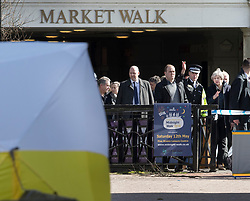 © Licensed to London News Pictures. 15/03/2018. Salisbury, UK. British Prime Minister THERESA MAY (R) stands with Chief Constable Kier Pritchard as she looks at the police evidence tent that covers the spot at The Maltings shopping area in Salisbury, Wiltshire where Former Russian spy Sergei Skripal and his daughter Yulia were found after being poisoned with nerve agent. The couple where found unconscious on bench in Salisbury shopping centre. A policeman who went to their aid is currently recovering in hospital. Photo credit: Peter Macdiarmid/LNP
