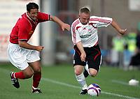 Photo: Paul Thomas.<br />Crewe Alexandra v Liverpool. Pre Season Friendly. 14/07/2007.<br /><br />Ray Putterill (R) of Liverpool gets past Chris McCready.