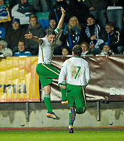Football -  UEFA EURO2012 Qualifying Play-off, 1st leg - Estonia v Republic of Ireland<br /> Republic of Ireland's Robbie Keane celebrates with team-mate Aiden McGeady, right, after scoring his side's third goal on 71 minutes.