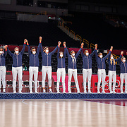 TOKYO, JAPAN August 8:  The French team on the podium to receive their bronze medals at the medal presentation ceremony after the Japan V USA basketball final for women at the Saitama Super Arena during the Tokyo 2020 Summer Olympic Games on August 8, 2021 in Tokyo, Japan. (Photo by Tim Clayton/Corbis via Getty Images)