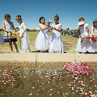 Students from Holy Cross Catholic School scatter flower petals into a irrigation water way at the New Mexico Farm and Ranch Heritage Museum, Tuesday May 15, 2018, during the final moments of the annual Blessing of the Fields. The museum annually commemorates this tradition dating back to the Spanish, celebrating San Isidro Labrador or San Isidro, the patron saint of farmers.