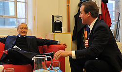 Leader of the Conservative Party David Cameron in the green room with Frank Field Labour MP for Birkenhead before giving a speech at Demos with Camila Batmanghelidjh, Founder and Director of Kids Company, London, Monday January 11, 2010. Photo By Andrew Parsons / i-Images.
