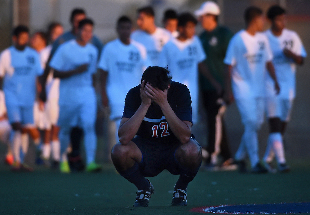 Orange Coast Pirates defender Estevan Silva reacts after a game against the Golden West Rustlers at Orange Coast College on Friday, Nov. 7, 2014. The Rustlers defeated the Pirates 1-0. (Timothy Tai/Sports Shooter Academy XI)