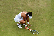 Heather Watson (GBR) shows her frustration has she goes on to lose  her match against Alison Riske (USA). The Aegon Open Nottingham 2017, international tennis tournament at the Nottingham tennis centre in Nottingham, Notts , day 2 on Tuesday 13th June 2017.<br /> pic by Bradley Collyer, Andrew Orchard sports photography.
