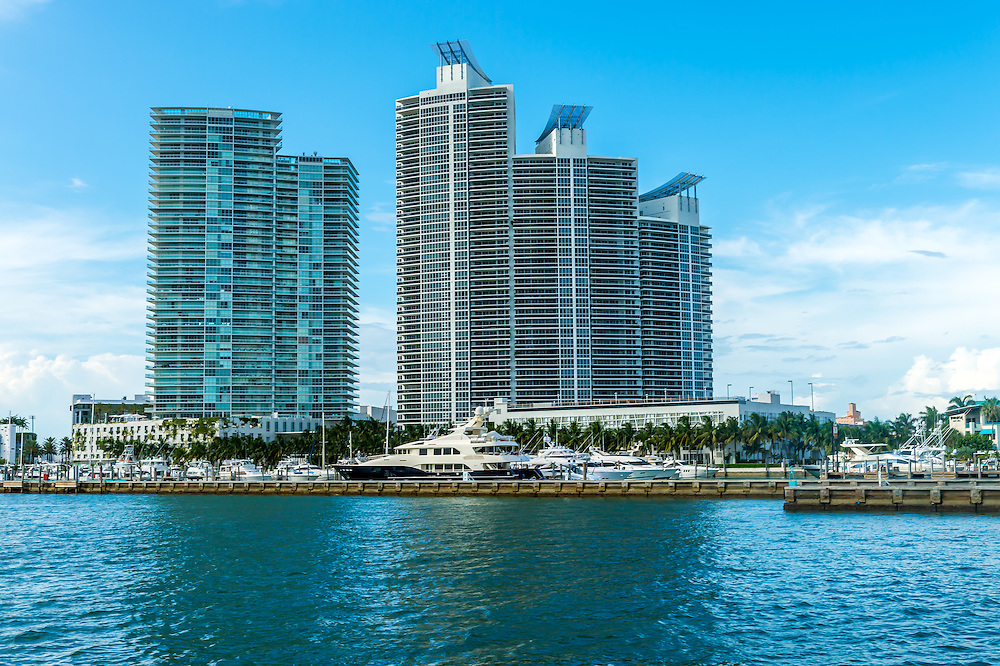 View of luxurious building and marina in Miami Beach