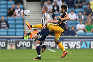 Nathaniel Knight-Percival of Bradford City ® challenges Aiden O'Brien of Millwall. EFL Skybet football league one match, Millwall v Bradford city at The Den in London on Saturday 3rd September 2016.<br /> pic by John Patrick Fletcher, Andrew Orchard sports photography.