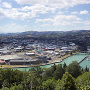 The view from Kaiti Hill of  Gisborne city and  Poverty Bay.. Kaiti Hill is an ancestral site of the Ngati Oneone in Gisborne. It is at the base of this hill that Captain James Cook came ashore, after first sighting New Zealand in October 1769..The 33 ha Titirangi Reserve is a tourist attraction, the hill has a Cook monument and four lookouts over Gisborne city and Poverty Bay. Other features include a World War II gun emplacement, a summit track and nature trails. At the base of the hill is the marae Te Poho-o-Rawiri, the home of Ngati Oneone, which was built by Rawiri Te Kani..Gisborne, North Island,  New Zealand. 15th January 2010. Photo Tim Clayton.