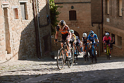 Anna van der Breggen (NED) third up the cobbled climb at the 2020 Clasica Feminas De Navarra, a 122.9 km road race starting and finishing in Pamplona, Spain on July 24, 2020. Photo by Sean Robinson/velofocus.com