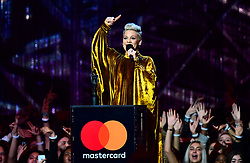 Pink accepts the award for Outstanding Contribution on stage at the Brit Awards 2019 at the O2 Arena, London. PRESS ASSOCIATION PHOTO. Picture date: Wednesday February 20, 2019. See PA story SHOWBIZ Brits. Photo credit should read: Victoria Jones/PA Wire. EDITORIAL USE ONLY.