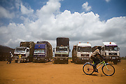 A man rides a bicycle past trucks parked at the Terminal du Sahel, a large truck terminal in Lome, Togo on Wednesday October 1, 2008.