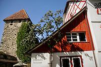 The Cafe Badstube Restaurant, located in an old half timbered building in Stein am Rhein - Canton Schaffhausen, Switzerland, Europe