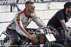 Moonshiner Josh Owens on his Harley-Davidson racer at Billy Lane's Sons of Speed vintage motorcycle racing during Biketoberfest. Daytona Beach, FL, USA. Saturday October 21, 2017. Photography ©2017 Michael Lichter.