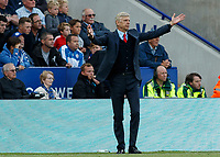 Football - 2016/2017 Premier League - Leicester Ciity V Arsenal. <br /> <br /> Arsenal Manager Arsene Wenger  with arms outstretched at The King Power Stadium.<br /> <br /> COLORSPORT/DANIEL BEARHAM