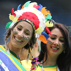 SAINT PETERSBURG, June 22, 2018  Fans of Brazil are seen prior to the 2018 FIFA World Cup Group E match between Brazil and Costa Rica in Saint Petersburg, Russia, June 22, 2018. (Credit Image: © Cao Can/Xinhua via ZUMA Wire)
