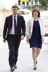 © Licensed to London News Pictures . 17/08/2015 . Manchester , UK . Labour party leadership contender , ANDY BURNHAM AND LUCY POWELL arrive . Andy Burnham delivers a speech at the People's History Museum in Manchester this morning (Monday 17th August 2015) . Photo credit : Joel Goodman/LNP