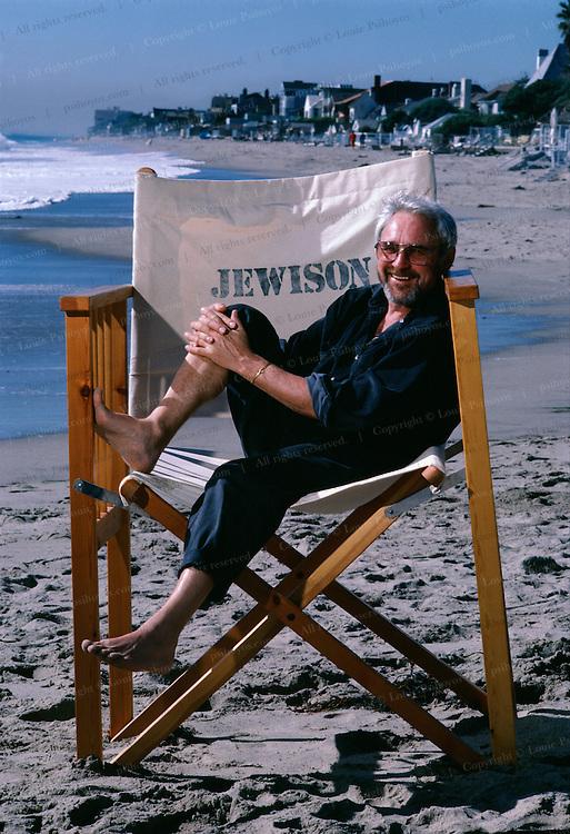 Norman Jewison, movie director on the beach outside his home in Malibu, California.