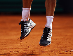 May 9, 2019 - Madrid, Madrid, Spain - Feet of Roger Federer of Switzerland seen in action against Gael Monfils of France during day seven of the Mutua Madrid Open at La Caja Magica in Madrid, Spain. (Credit Image: © Manu Reino/SOPA Images via ZUMA Wire)