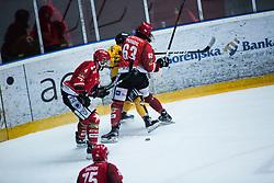 PARADIS Philippe and TAVZELJ Andrej League match between HC Pustertal and HDD SIJ Jesenice, on April 3, 2019 in Ice Arena Podmezakla, Jesenice, Slovenia. Photo by Peter Podobnik / Sportida