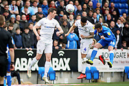 Peterborough Utd's Daniel Lafferty (18) gets in a header during the EFL Sky Bet League 1 match between Peterborough United and Coventry City at London Road, Peterborough, England on 16 March 2019.