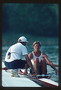 Banyoles, SPAIN, BRONZE Medalist,  CAN W1X SILKEN LAUMANN,  with coack, Mike SPRACKLEN, in the 1992 Olympic Regatta, Lake Banyoles, Barcelona, SPAIN. 92   [Mandatory Credit: Peter Spurrier: Intersport Images]