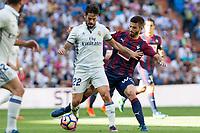 Real Madrid's Isco Alarcon and Eibar's Francisco Rico durign the match of La Liga between Real Madrid and SD Eibar at Santiago Bernabeu Stadium in Madrid. October 02, 2016. (ALTERPHOTOS/Rodrigo Jimenez)