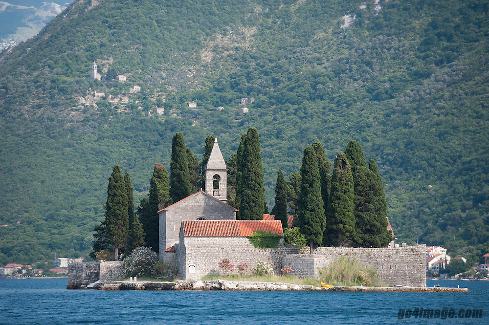 Montenegro, Tivat, Bay of Kotor July 2012<br /> <br /> In the bay of Kotor, along the coat Sveti Stefan there are two islands St. George Islands and the lady on the rocks.<br /> St. George Islands with the Saint George Benedictine monastery