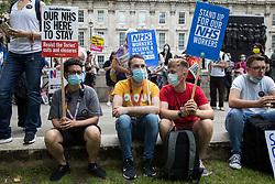 London, UK. 3rd July, 2021. NHS workers and supporters take part in a protest rally opposite Downing Street after a march from University College Hospital as part of a national day of action to mark the 73rd birthday of the National Health Service. The protesters called for fair pay for NHS workers, for better funding of the NHS and for an end to privatisation measures affecting the NHS.