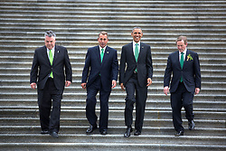 President Barack Obama and Prime Minister (Taoiseach) Enda Kenny of Ireland, right, are escorted by Rep. Peter King, R-N.Y., left, and House Speaker John Boehner as they depart a St. Patrick's Day lunch at the U.S. Capitol in Washington, D.C, March 17, 2015. (Official White House Photo by Lawrence Jackson)<br /> <br /> This official White House photograph is being made available only for publication by news organizations and/or for personal use printing by the subject(s) of the photograph. The photograph may not be manipulated in any way and may not be used in commercial or political materials, advertisements, emails, products, promotions that in any way suggests approval or endorsement of the President, the First Family, or the White House.